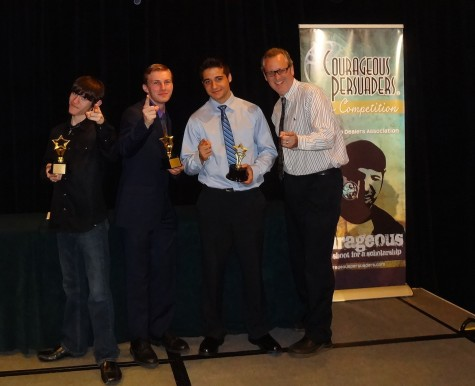 David Chapman, Andrew Sokolowski, Kyle Reineer, and Mr. Flanagan celebrate the win with Courageous Persuaders.