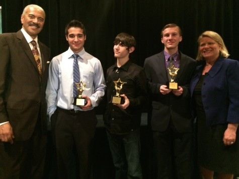 FOX2 anchor Huel Perkins, Kyle Rineer, David Chapman, Andrew Sokolowski, and Michigan Secretary of State Ruth Johnson