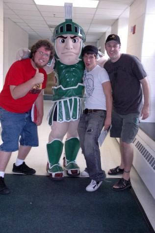 Summer MIPA Camp Editors Aaron Hamel, Sparty, Kyle Snarski, and adviser Jamie Flanagan