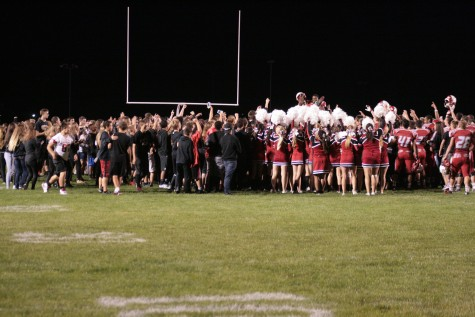 Anchor Bay celebrating their 39-0 victory over the Fraser Ramblers. 9/25/15.