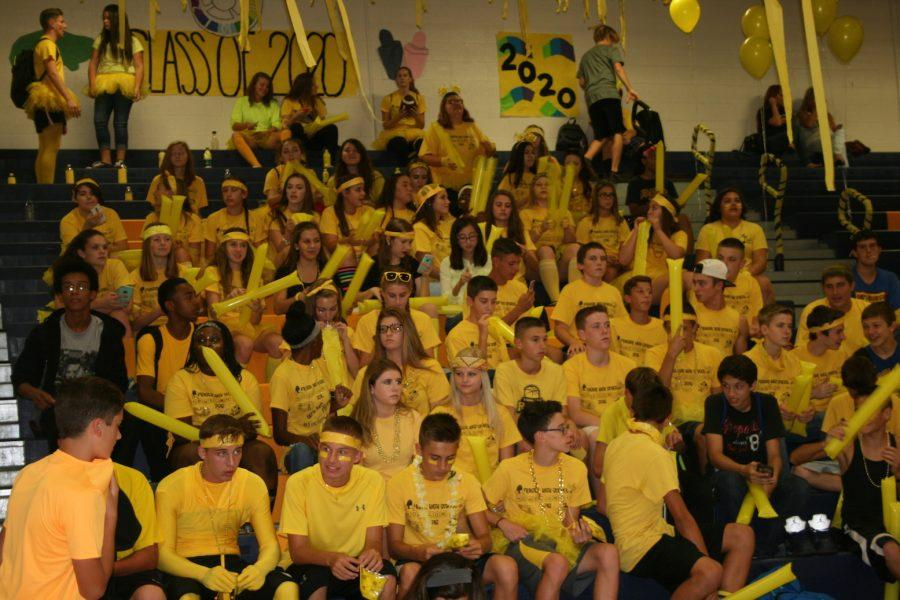 Class of 2020 had a blast at the pep assembly. Decked out in their class colors and had a strong show.