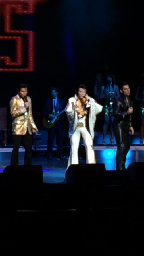 The Early Years and Comeback Elvis, Dean Z, the Movie Elvis, Jay Dupis, , and Concert Elvis , Bill Cherry, all join together for a Cant Help Falling In Love finale at the Macomb Community College Performing Arts Center.