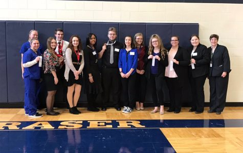 After awards, HOSA members pose for a photo. From left to right: Cheyenne Kucinski, Carly Landry, Allison Stevenson, Ryan Querro, Marcella Miller, Aaliyah Holt, Alex Moskos, Elizabeth Avila, Shelbie Schwall, Shelby Wichtner, Sarah Boguslaw, Olivia Willems, Mrs. Van-I. Not pictured: Jack Baranski, Sara Froude, McKayla Latshaw, Mackayla Jacklin, Ana Alexandrova, Katie Allison, Kayla Cross, Courtney Oltman.