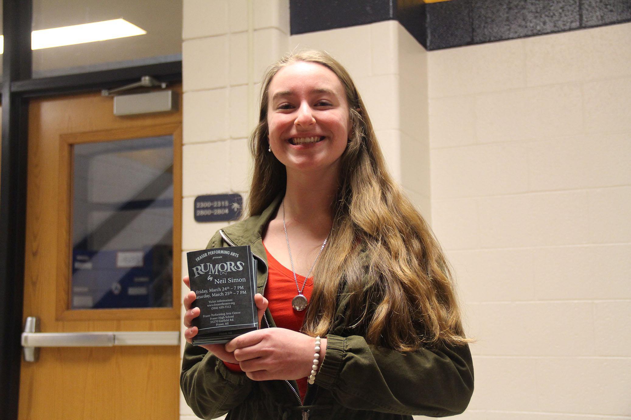 Freshman Brooke Arnold played the character Cris Gorman in the play Rumors and is currently involved in Fraser Singers and Symphony Band.