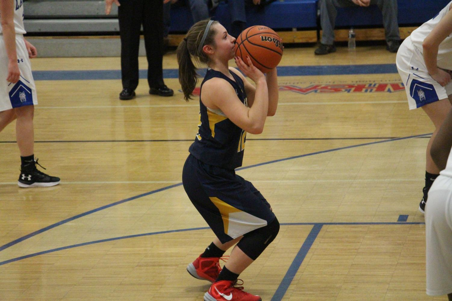 Elise Vitale at the free throw line against rival Lakeview on January 19th, 2018